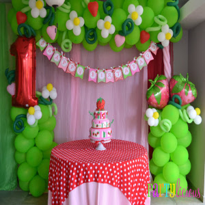 girls theme party decoration with strawberry theme party