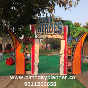 superhero theme party outdoor decoration
