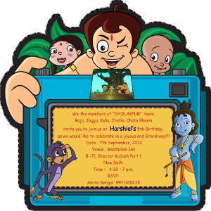 invitation card chhota bheem