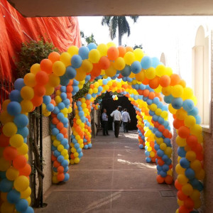 colorful outdoor balloon decoration