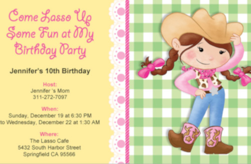 cowgirl themed birthday party
